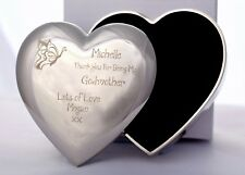 Engraved GODMOTHER Silver Plated Heart Trinket Box Gift/Present For Christening
