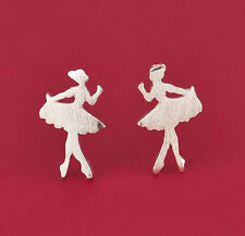 Korea 925 Silver Plated Two Sweet Ballerinas  Mini Lady Stud All_match Earings