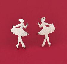 Korea 925 Silver Plated Two Sweet Ballerinas  Mini Lady Stud All_match Earings