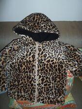Koala Kids 3T Black Leopard Reversible Hooded Fur Coat Jacket New