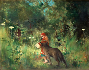 Carl Larsson Little Red Riding Hood And The Wolf In The Forest Canvas   #3482