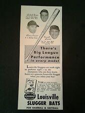 1953 Hank Sauer Cubs Baseball Sports Memorabilia Louisville Slugger Bat Ad