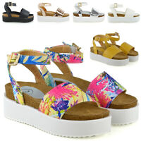 Womens Platform Strappy Sandals Chunky Wedges Flatform Peep Toe Casual Shoes 3-8