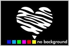Zebra Heart Sticker Vinyl Decal Car Window Wall Decor Stripe Love Cute Animal