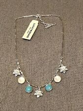 lucky brand necklace silver tone stone flower collar lobster clasp closure new