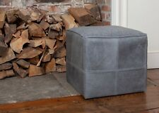 Leather Foot Stool / Stool / Pouffe 100% Genuine Leather / Tweed UK Handmade
