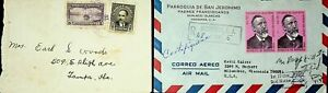 HONDURAS 2 COVERS W/ 4v FAMOUS PEOPLE, BOAT, 1 1970 REGD AIRMAIL TO USA