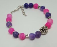 Owl, Purple & Pink , chain / beaded Bracelet