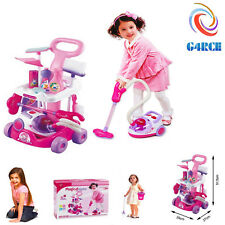 Girls Cleaning Vacuum Cleaner Hoover Fun Role Play Toy PINK with Light Sound UK