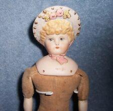 Vintage Repro? Antique German Bisque Victorian BONNET HEAD Doll House Dollhouse