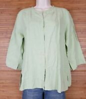 Eileen Fisher Linen Buttoned Down Blouse Tunic sz M Green Mandarin Collar EUC
