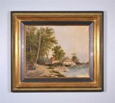 French Antique Signed Oil on Canvas Painting Cottage Lakeshore