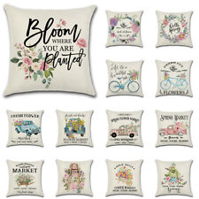 Hello Spring Flowers Pillow Covers Farmhouse Linen Cushion Case Home Couch Decor
