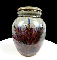 "STUDIO ART POTTERY SIGNED CATTAILS MOTIF SPECKLED STONEWARE 7.5"" LIDDED JAR 1982"