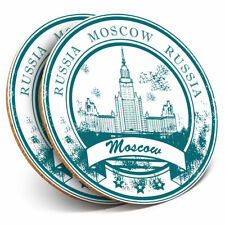 2 x Coasters - Moscow Russian Travel Stamp Home Gift #5907