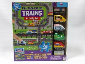 Pull-Back-and-Go Trains Activity Set - 28 Pieces With Colouring Book - Kids Gift