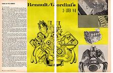 1967 RENAULT GORDINI 3-LITER V-8 ENGINE  ~   ORIGINAL 2-PAGE ARTICLE