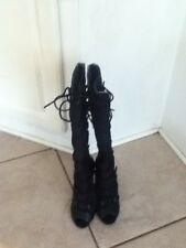 BEBE BOOTS Black LEATHER & Suede Size 7 Knee High Women Ladies Girl Style Cute