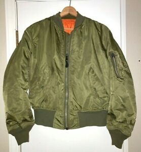 Alpha Industries MA-1 Flight Jacket Flyers Reversible Green Orange Bomber M