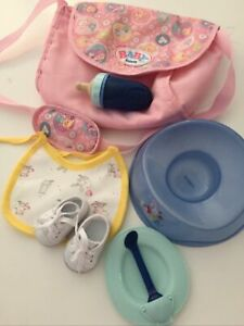 Baby born doll accessories. Bag , Shoes , Bottle ,Bib,Plate And Potty