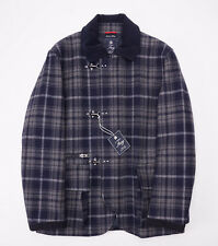 NWT $1995 FAY MILANO Navy-Gray Plaid Wool 'Berwick' Coat XL Limited-Edition