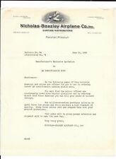 Vintage Illustrated Letterhead NICHOLAS BEAZLEY AIRPLANE CO 1928 Marshall MO