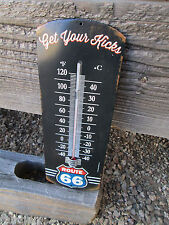 ROUTE 66 VINTAGE LOOK THERMOMETER METAL SIGN HARLEY INDIAN DODGE MAN CAVE KICKS