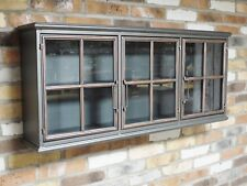 Metal Wall Unit Display Cabinet Glass Fronted Living Room Storage Furniture
