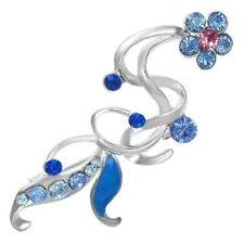 Crystal Flower Women Pin Brooch w/ Sapphire-Blue & Rose Pink CZ - think spring!