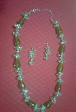 """GREEN GLASS  BEAD 20"""" NECKLACE AND DANGLE EARRINGS SET-"""