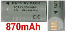 Batterie 870mAh type NB-9L NB9L Pour Canon IXY Digital 1