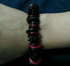 """Red and black mixed buttons bracelet with stainless steel clasp 7.5"""""""