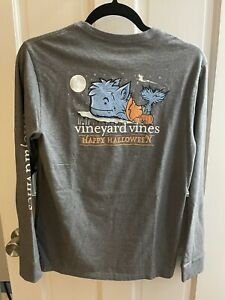 Vineyard Vines Halloween WHALE WEREWOLF Pocket Tee Shirt NWT Boys XL 18 Grey