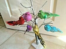 Christmas Tree Decorations - Glitter Bird Clip Feather Vintage Retro Six Colours