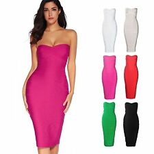 Meilun Women's Elegant Rayon Bandage Dress Strapless Slim Party Club Celeb Dress