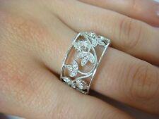 14K WHITE GOLD, DIAMOND FLOWER MOTIF, 11.7 MM, WIDE BAND-RING, 8.2 GRAMS