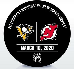 New Jersey Devils Game Used NHL Warm Up Puck 3/10/2020 vs. Pittsburgh Penguins!