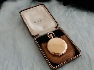 "Original 9ct Rose Gold ""Herbert Wolf, Magno, Special"" Hunter Pocket watch & Box"