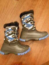 New Hi-Tec blue black gray camo water-resistant snow boots kids boys sz 11 nobox