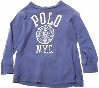 POLO RALPH LAUREN Boys Top Long Sleeve 18-24 Months Blue Cotton  CH08