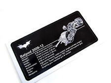 CUSTOM BATMAN PLAQUE STICKER for BATPOD MODELS, TOYS, Lego 5004590  76023, ETC