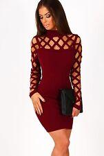 Burgundy Wine Perforated Long Sleeve Bodycon Dress, size S/M / UK 8 / US 4