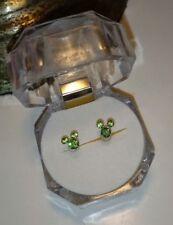 Mouse Ears Earrings~Mickey~Green Crystal .925 Sterling Silver Stud Post Disney