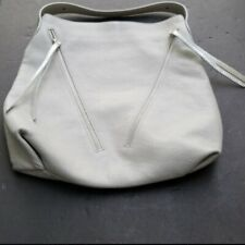 Giorgia Milani Top Zip Leather Hobo Bag Gray Silver Large Purse