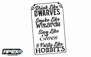 Party Like a Hobbit Lord of The Rings Inspired Funny Large Vinyl Sticker - Black