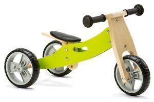 Nicko NIC803 Green Mini Convertible Wooden Balance Bike Toddler Trike 18 months+