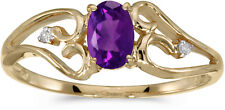 10k Yellow Gold Oval Amethyst And Diamond Ring (CM-RM2585-02)
