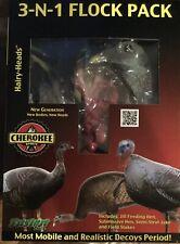 New Cherokee Sports  3-n-1 Flock Pack Turkey Decoys  Hairy Heads Turkey Hunting