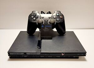Sony PlayStation 2 PS2 Slim BLACK scph-77001 3PC BUNDLE Tested Working!
