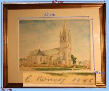 """""""Eglise Limousine"""" Aquarelle originale signée 1946 Encadrée 60 cm x 50 cm"""